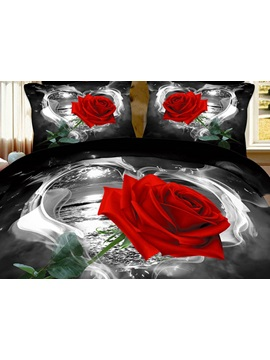 Red Rose In Heart Shape Printed Cotton 4 Piece Black Bedding Sets