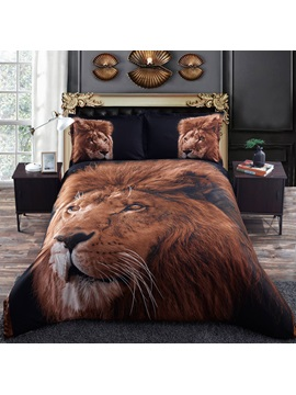 Golden Lion Head Printed 4 Piece 3d Bedding Sets Duvet Cover