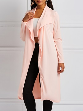 Mid Length Wrapped Plain Thin Womens Trench Coat