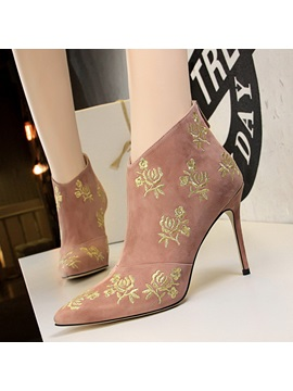 Floral Back Zip Stiletto Heel Womens Ankle Boots