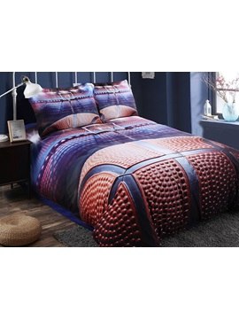 Shooting A Basketball In Empty Basketball Court Printed 3d 4 Piece Bedding Sets