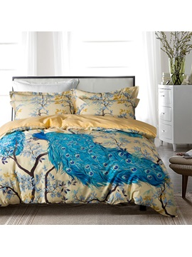 Blue Peacock And Branches Luxury 4 Piece Cotton Bedding Sets Duvet Cover