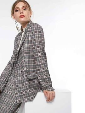 Notched Lapel Long Sleeve Plaid Casual Womens Blazer