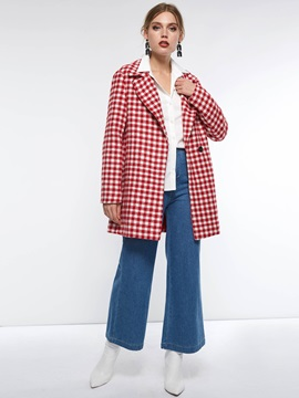 Plaid Notched Lapel Long Sleeve Fall Womens Blazer