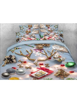 Christmas Ornaments Printed Cotton 4 Piece 3d Bedding Sets Duvet Covers