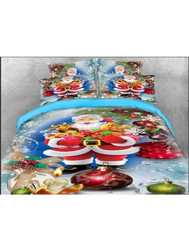 Santa Claus And Christmas Gifts Printed 3d 4 Piece Bedding Sets Duvet Covers