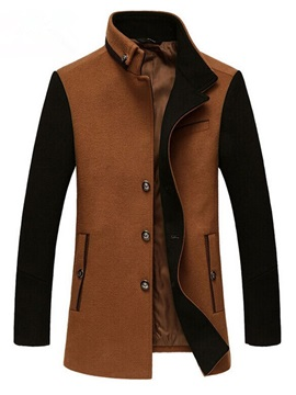 Color Block Single Breasted Warm Mens Trench Coat