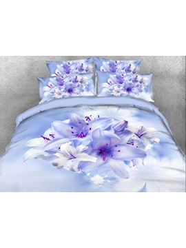 Cluster Of Lilies Printed Cotton 4 Piece 3d Bedding Sets Duvet Covers