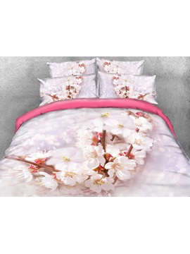 Cherry Blossom Printed Cotton 4 Piece 3d Bedding Sets Duvet Covers
