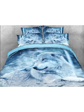 Wolf In The Wild Printed Cotton 4 Piece 3d Bedding Sets Duvet Covers