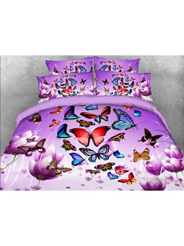 Colorful Butterflies And Purple Flower Printed 3d 4 Piece Bedding Sets Duvet Covers