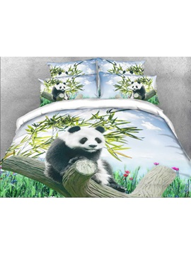 Panda On A Branch Printed Cotton 4 Piece 3d Bedding Sets Duvet Covers