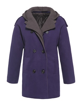 Hooded Single Breasted Winter Mid Length Plus Size Womens Overcoat