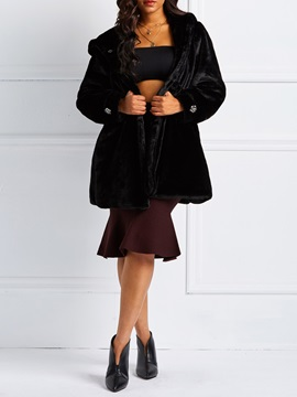 A Line Mid Length Plain Thick Womens Faux Fur Overcoat