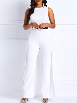 Sleeveless High Waist Slim Womens Jumpsuit Without Belt