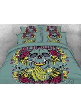 Halloween Artistic Skull Printed 4 Piece 3d Bedding Sets Duvet Covers