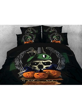 Halloween Pumpkin And Skull Printed 3d 4 Piece Bedding Sets Duvet Covers