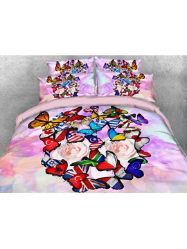 Colorful Flag Butterflies Printed 4 Piece 3d Bedding Sets Duvet Covers
