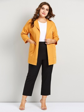 Plus Size Lapel Three Quarter Sleeve Womens Trench Coat