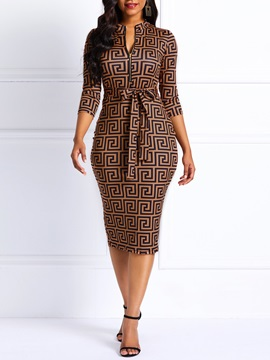 Knee Length V Neck Geometric Womens Bodycon Dress