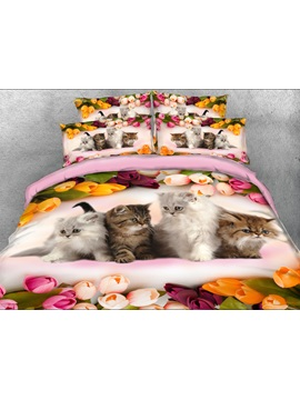 Kittens And Colorful Tulips Printed 4 Piece 3d Bedding Sets Duvet Covers