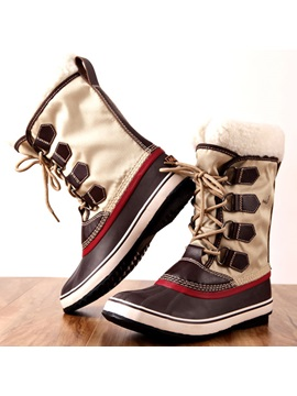 Round Toe Color Block Waterproof Womens Winter Boots