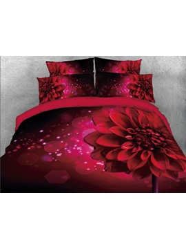 Sparkle Red Daisy Printed 4 Piece 3d Bedding Sets Duvet Covers