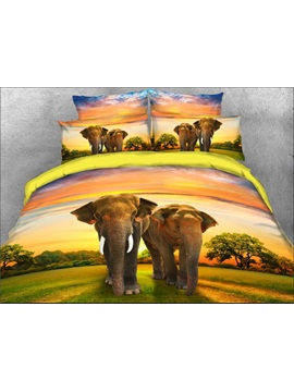Couple Elephants Walking On Grassland Natural 4 Piece 3d Bedding Sets Duvet Covers