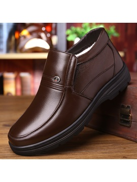 Mid Cut Upper Plain Round Toe Mens Winter Shoes