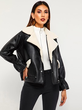 Loose Leather Polar Fleece Liner Womens Pu Jacket