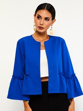 Loose Three Quarter Flare Sleeve Wrapped Womens Jacket