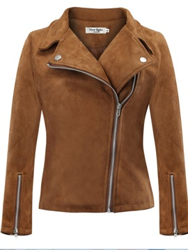Slim Casual Suede Zipper Plus Size Womens Jacket