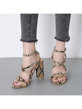 Buckle Chunky Heel Strappy Serpentine Womens Sandals