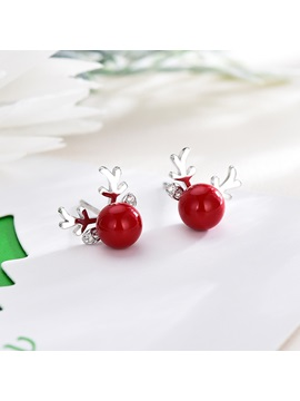 Christmas Gift Reindeer Shape Silver Plated Red Pearl Earrings