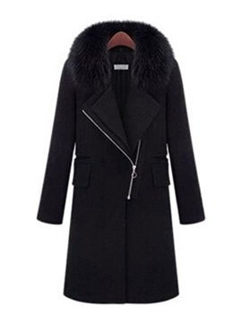 Straight Fur Collar Winter Long Womens Overcoat