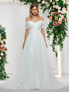 Lace Short Sleeves Beach Wedding Dress
