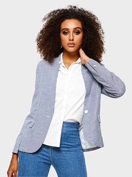 Stand Collar Long Sleeve One Button Casual Fall Womens Blazer