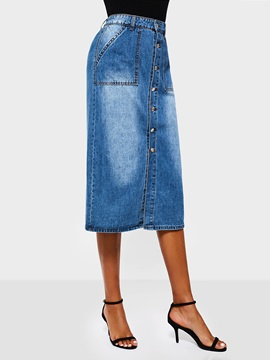 Mid Calf Gradient Straight Casual Womens Denim Skirt