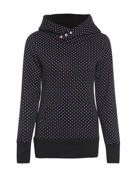 Polka Dots Button Long Sleeve Hooded Womens Hoodie