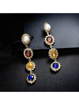 Colored Gemstone Decorated Court Style Earrings