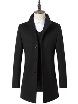 Plain Mid Length Single Breasted Mens Wool Coat