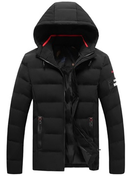 Winter Hooded Zipper Mens Down Jacket