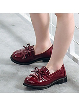 Pu Bow Round Toe Kids Shoes
