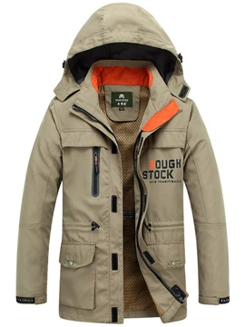 Plain Hooded Zipper Thick Mens Coat