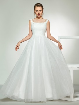 Bateau Neck Beading A Line Wedding Dress