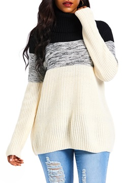 Color Block Winter Mid Length Womens Sweater