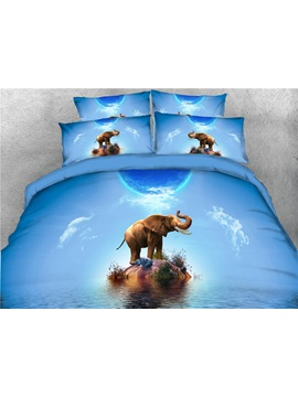 Elephant Stand On The Island Blue Digital Printed 3d 4 Piece Black Bedding Sets Duvet Covers
