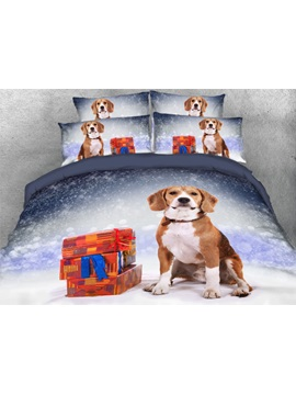 Cute Dog With Presents Snowy Christmas Night Printed 3d 4 Piece Bedding Sets Duvet Covers