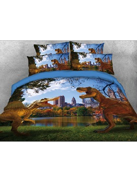 Spinosaurus Tyrannosaurus In Modern City 3d 4 Piece Bedding Sets Duvet Covers