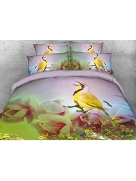 Yellow Bird With Flowers Printed 3d 4 Piece Bedding Sets Duvet Covers
